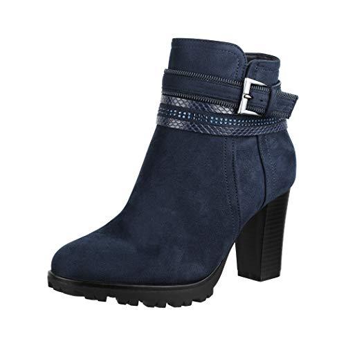 Elara Damen Stiefelette Ankle Boots Chunkyrayan 2018 C292-1-Dk.Blue-39