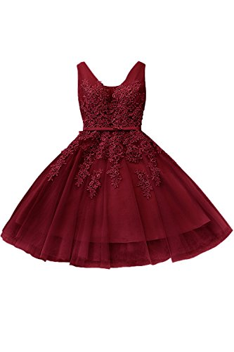Damen Prinzessin bordeaux kleid kurz Mädchen brautjungfernkleid Applique rückenfrei knielang Weinrot 34