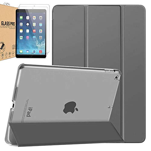 """[Bundle] Polycarbonate Smart Case Compatible with iPad Air / Air 2 / iPad Pro 9.7 / iPad 9.7"""" 2017 / iPad 9.7"""" 2018 Translucent Frosted Back Protector Cover FREE 2 Pack Tempered Glass (Grey)"""