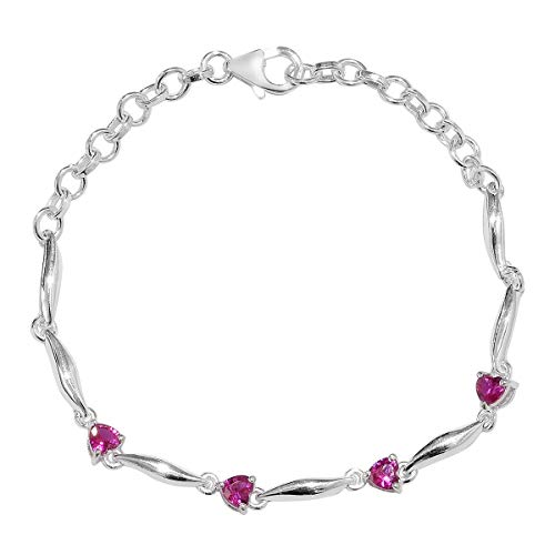 925 Sterling Silver Ruby Love Heart Station Valentines Bracelet for Women Jewelry Gift 7.25' Cttw 1.1