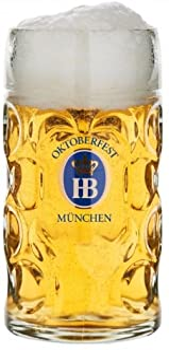 "1 Liter HB"" Hofbrauhaus Oktoberfest Edition"" Dimpled Glass Beer Stein"
