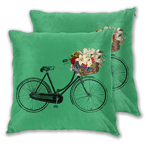 Emerald Green Bicycle Flower Square Throw Pillow Covers for Sofa Couch Bed Car Decorative Cushion Covers Pillowcases Pack of 2