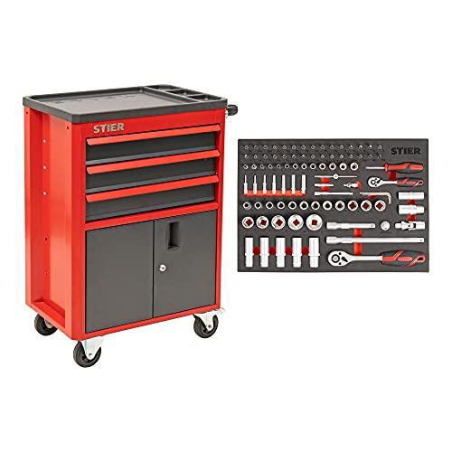 STIER Werkstatt- und Schrankwagen mit 3 Schubladen | bestückt 92-teilig | Werkzeuge in...
