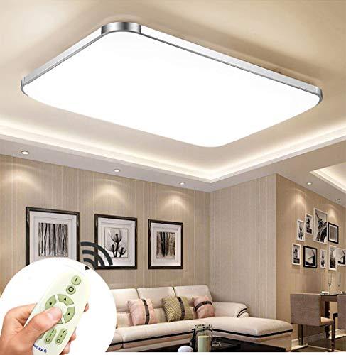 90W LED Deckenleuchten Dimmbar Deckenlampe Flur Schlafzimmer Wohnzimmer Lampe Energiespar Licht Moderner minimalistischer Stil-Silberrahmen (90W Dimmbar)