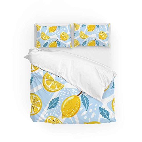 161 Soft Quilt Bedding Set Lemon Leaves Duvet Cover with 2 Pillowcases Set 3 PCS 260 x 220 CM, Super King
