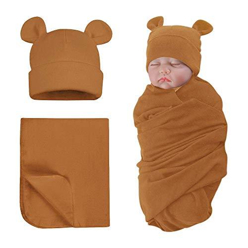 Sacco nanna per neonati con berretto, 0-6 mesi, cotone biologico, per neonati, per bambini, 0-3 mesi (Caffè)