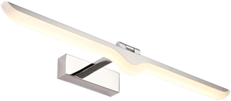 LED Edelstahl Spiegel Scheinwerfer, Badezimmer Wandleuchten Einfache und moderne wasserdichte Spiegel Schrank Lampen Beleuchtung zu Hause A+ (Farbe   Weies Licht-52CM(12W))