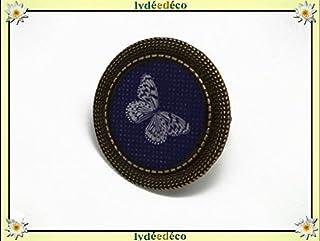 Anello retro resina Farfalla nero beige regolabile rotondo 20mm ottone bronzo regalo personalizzato noel amico festa della...