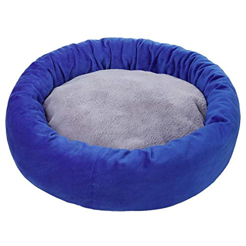 LUCSUN Round Donut Cat and Dog Cushion Bed, Pet Bed for Cats or Small Dogs, Self-Warming and Cozy for Improved Sleep (Blue, 19.68' *19.68' * 4.72')