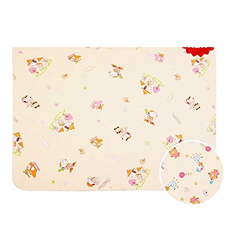Baby Waterdicht Isolatie pad, Wasbaar Ademend Menstrual Care pad, Crystal Velvet dubbelzijdig matras 80x68cm Geel