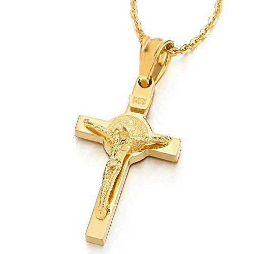 COOLSTEELANDBEYOND Piccolo Crocifisso Colore Oro Croce, Gesu Cristo, Collana Pendente Uomo Donna, Ciondolo Acciaio, 50CM Corda Catena