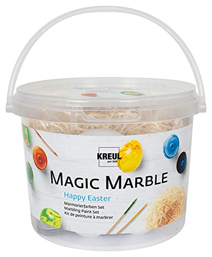 Kreul 73703 - Magic Marble Marmorierfarbe Happy Easter Set, mit 4 x 20 ml Farbe zum Tauchmarmorieren, 5 Kunststoffeier, 5 Marmorierstäbchen und Holzwolle