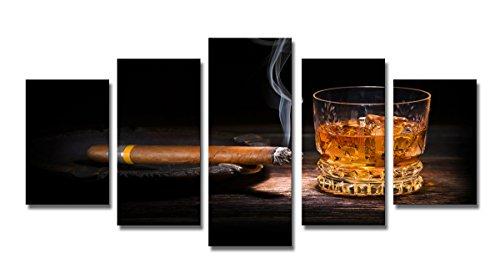 Visario Bild & Kunstdruck der Deutschen Marke 200 x 100 cm ArtNr 6320 Bilder auf Leinwand Kunstdrucke zigarre Whiskey Wandbild fünfteilig