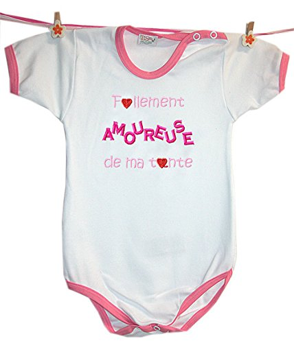 Zigozago - Body Bèbè à Manches Courtes pour bébé avec Broderie FOLLEMENT Amoureuse DE MA Tante Taille: 9 Mois - Couleur: Rose