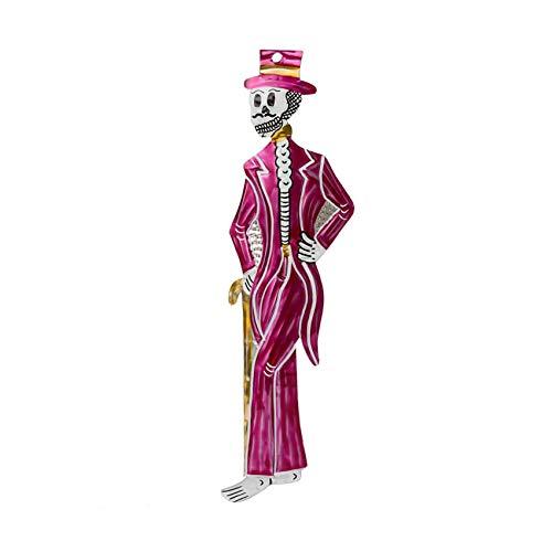 FANMEX - Fantastik - Figura de hojalata Mexicana con Calaveras - artesanía de Dia de Muertos (Catrín clásico)