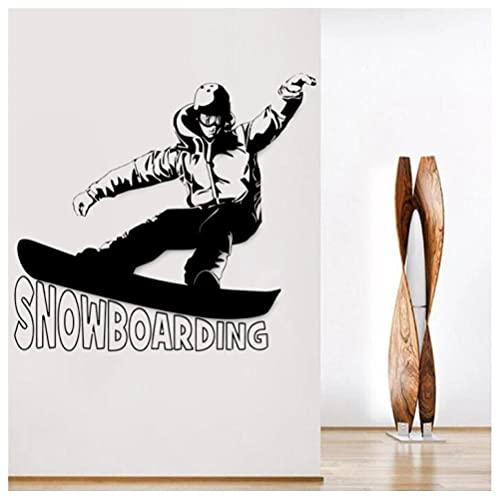 Adhesivos Pared Pegatina Extraíble Impermeable Creativas DIY Snowboarding Wall Stickers Winter Deportes Ventana Calcomanía Arte Juvenil Mural Dormitorio Dormitorio Decoración 52X80cm