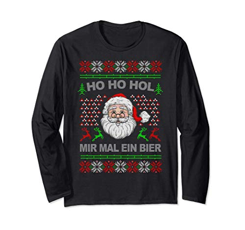 Ho Ho Hol Mir Mal Ein Bier Ugly Christmas Geschenk Langarmshirt