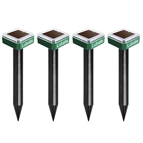 Lubatis 4 Pack Mole Repellent Mole Chaser Spikes Solar Mole Repeller Groundhog Deterrent Gopher...
