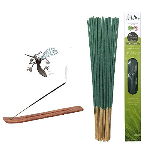 Lovhome Mosquito Sticks, Natural Insect Repellent Incense Stick, 40 Sticks Plus 1 Incense Holder, Citronella and Lemongrass Incense for Outdoor