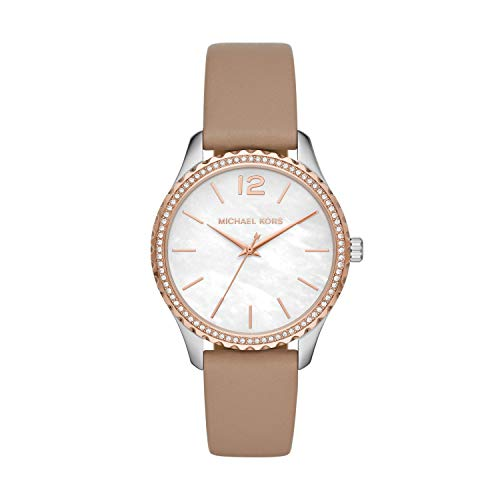 Michael Kors Women's Layton Stainless Steel Quartz Watch with Leather Strap, Brown, 18 (Model: MK2910)