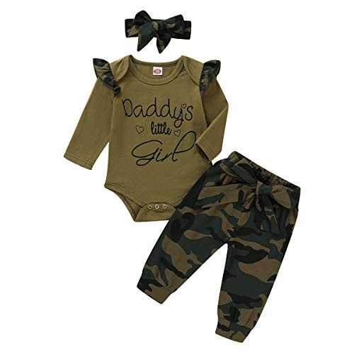 Nilikastta 3PCS Newborn Baby Girls Clothes Infant Fall Outfit,Romper Bodysuit Long Sleeve Tops Jumpsuit T-Shirt Ruffled +Camouflage Long Pants+Headband Casual Set(Baby Girl camo1,3-6 Months)