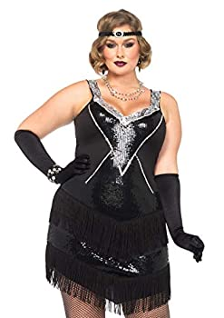 Leg Avenue womens Plus Glamour Flapper With Headband Adult Sized Costumes Black/Silver 3X 4X US