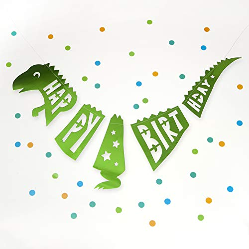 On The Wall Party Banner - Giant Green Happy Birthday T-Rex Dinosaur Garland - 1.5 metre