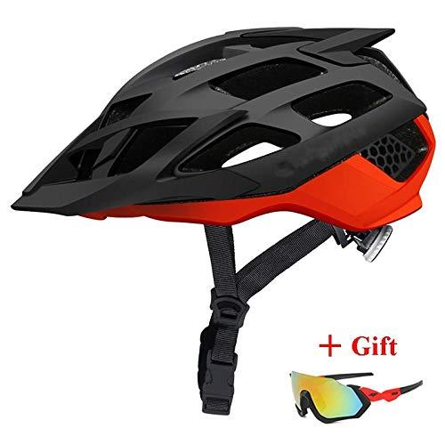 CascoPlegable Casco de bicicleta MTB más nuevo con gafas de sol Casco de bicicleta de montaña ultraligero Casco de bicicleta de montaña Cascos de ciclismo de carreras en molde-Negro rojo_L (57-6