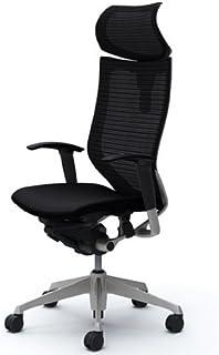 バロン (Baron) チェア 【エクストラハイバック】 可動ヘッドレスト シルバ-フレーム 可動肘 座クッション ブラック CP81DR FDF1