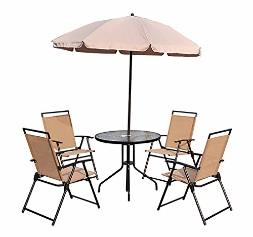 Conjunto Muebles Jardin 4 Sillas Mesa de Comedor Redonda y Sombrilla Parasol