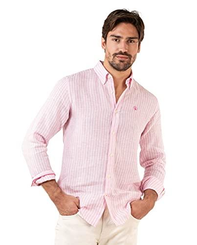 El Ganso Camisa Lino Rosa Raya Blanca