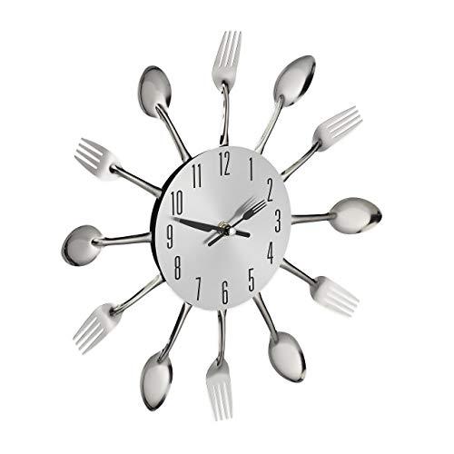 Relaxdays Wanduhr Besteck, Küchenuhr Löffel & Gabel, Ø 31 cm, Metall, batteriebetrieben, ohne Ticken, Besteckuhr, silber