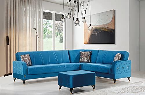 Divano letto angolare classico clic clac con contenitore porta oggetti + pouf, microfibra azzurro, ideale per hall alberghi e zone living.