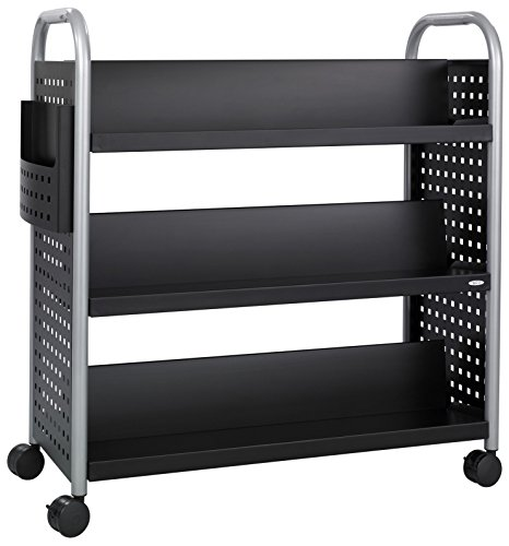 Safco Products Scoot Double-Sided Book Cart Black, Swivel Wheels, 6 Slanted Shelves