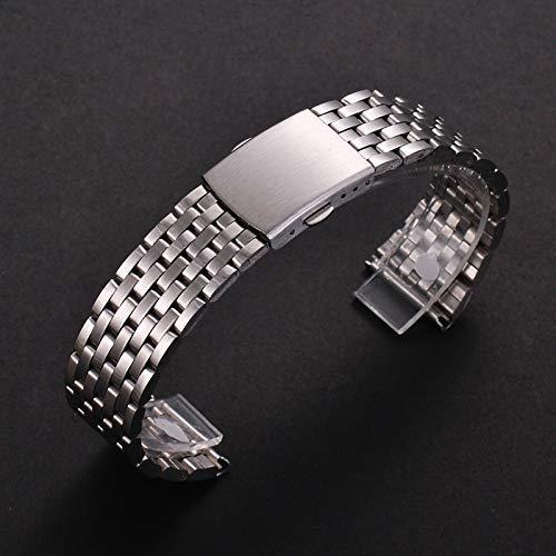 Correas de Reloj compatibles con Correa de Reloj de Acero Inoxidable de 18 mm 20 mm 22 mm para Gear S2 S3 Pulsera de eslabones de Reloj Negro (tamaño: 18 mm)