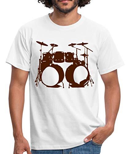 Schlagzeug, Drums, Drummer, Schlagzeuger, Musik, Instrument, Double bass Männer T-Shirt, XXL, Weiß