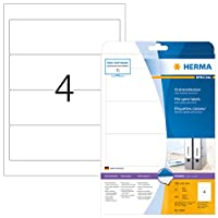 HERMA 5095 192x61mm Colour Laser Paper Rectangular Filing Labels with Round Corners - Matte White (100 Labels, 4 per Sheet) by HERMA