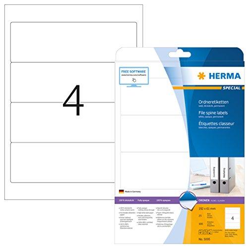 HERMA 5095 Ordnerrücken Etiketten DIN A4 blickdicht, kurz/breit (192 x 61 mm, 25 Blatt, Papier, matt) selbstklebend, bedruckbar, permanent haftende Ordneretiketten, 100 Rückenschilder, weiß