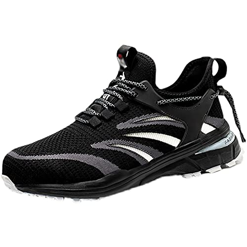 Zapatos de Trabajo Zapatos de Seguridad livianos Hombres y Mujeres de Punta de Acero Toe Entrenadores Zapatos de Verano Transpirable Antideslizante MD Malla Trabajo Informal Zapatos industriales