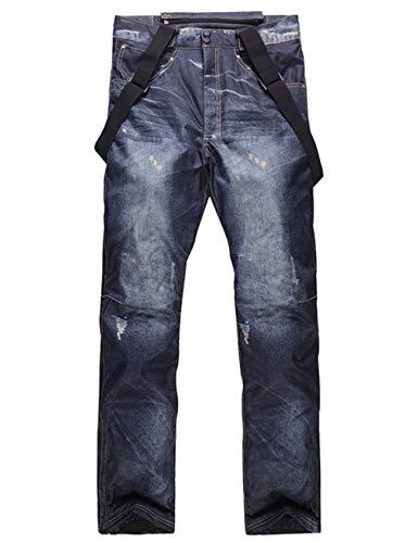 スノーボードウェア メンズ パンツ ジーンズ インディゴ デニム風 スノーパンツ スキーパンツ 厚手 防水防風通気 保温 大きいサイズ ボトムス black XL