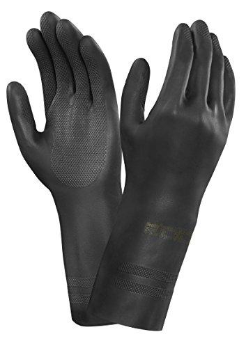 Ansell 29-500/10 Neotop Neopreno guante, Protección contra productos químicos y líquidos, Tamaño 10, bolsa de 12 pares, Negro