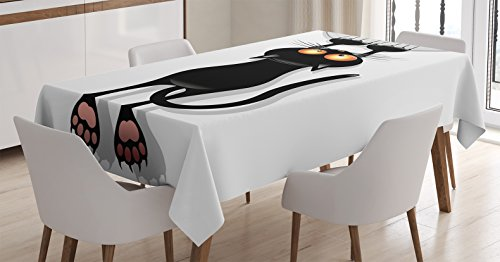 """Ambesonne Funny Tablecloth, Angry Furry House Cat Scratching Curtains Best Friend Companion Happy Paws Art Image, Dining Room Kitchen Rectangular Table Cover, 52"""" X 70"""", White Black"""