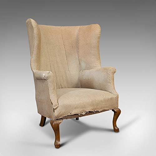 Sillón de ala antigua, inglés, respaldo de barril, asiento, silla, victoriano, circa 1900