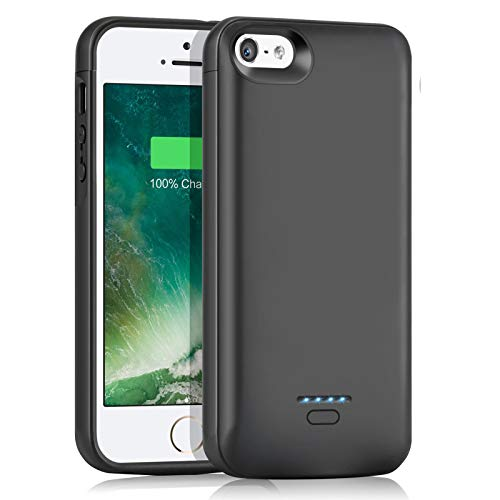 """Battery Case for iPhone 5/5S/se(1nd Generation)(4.0"""") 4000mAh Slim Charger Case Rechargeable Portable Case Extended Battery Charging Case Protective Backup Power Case (4.0"""")——Black"""