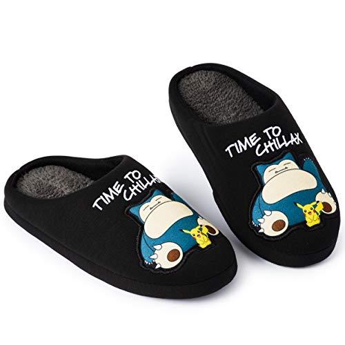 Pokemon Zapatillas de Estar En Casa Hombre Diseño Snorlax y Pikachu, Merchandising Oficial Pokemon, Zapatilla Invierno Suela Goma Dura Interior Exterior, Regalos para Hombres Padres (42/43 EU)