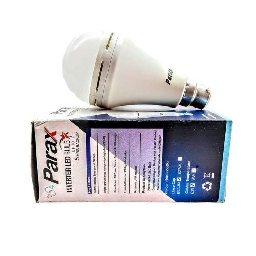 Confident™ Made in India Parax 9w Inverter Bulb 5hrs Back up 2600 Mah Lithium ion Battery,Pack of 2