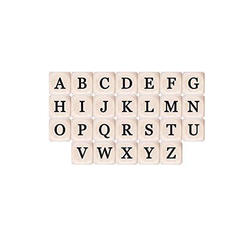 YoungRich 26 Piezas Cuentas de Madera con Letras del Alfabeto,Mezclado Cubo Cuadrado de la Carta Perlas Sueltas del...