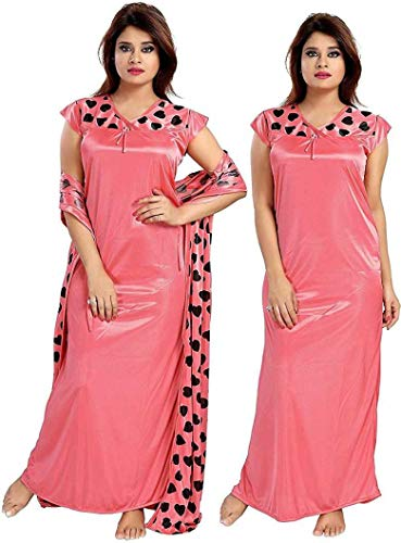 VindhWashni Women Satin Printed 2 pcs Nighty with Robe Gown...