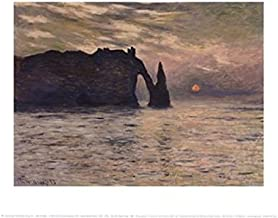 The Cliff, Etretat, Sunset, 1883 - Poster by Claude Monet (14 x 11)