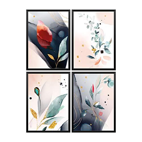 Juego de 4 pósteres Premium abstractos acuarela flores doradas cuadros de pared para decoración de salón, dormitorio, cocina | (A3 42 x 29,7 cm) impresiones artísticas